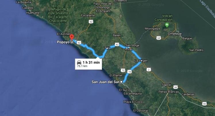 San Juan to Popoyo